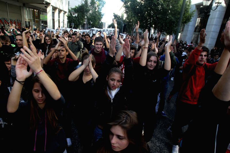 Students hold a rally in central Athens, Greece, Nov. 2, 2015. A new round of protests and strikes started on Monday in Greece ahead of the voting on the next set of ...