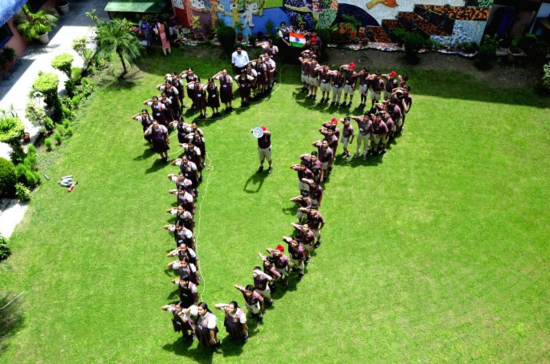 Students of an Amritsar school stand in formation of Indian map ahead of Independence Day on Aug 11, 2017.