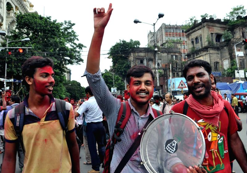 Students of Calcutta Medical College and Hospital(CMCH) participate in a victory march after calling off their 14-day long hunger-strike as the college administration agreed to their ...