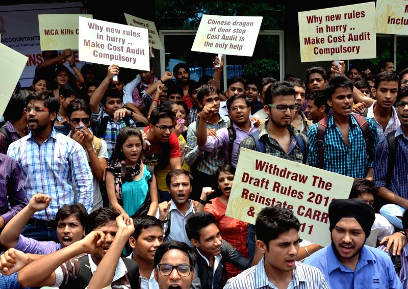 Students of Institute of Cost Accountants of India (ICAI) stage a demonstration to press for their demands in front of CMA Bhavan in New Delhi on July 16, 2014.