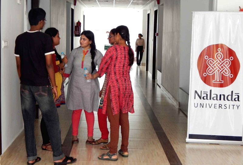 Students of Nalanda University which started its first academic session with 15 students and 10 faculty members in Rajgir, Bihar on Sept 1, 2014.