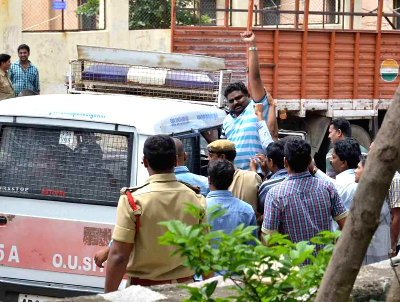 Students of Osmania University (OU) against arrests of  OU students in Hyderabad on Sept 4, 2014.