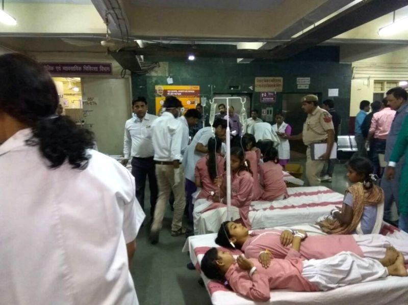 Students of Rani Jhansi Sarvodaya Kanya Vidyalaya who fell ill due to gas leak near the school being treated in New Delhi on May 6, 2017.