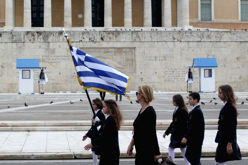 Students parade in Athens, Greece, on Oct. 28, 2015. This day commemorates the refusal of Greece to allow Italian fascist troops to enter the country and the ...