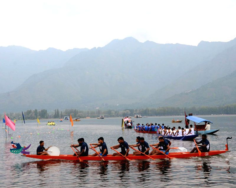 Students participate in 3rd National Dragon Boat Race Championship 2014 organised in Dal Lake, Srinagar on Sept 2, 2014.