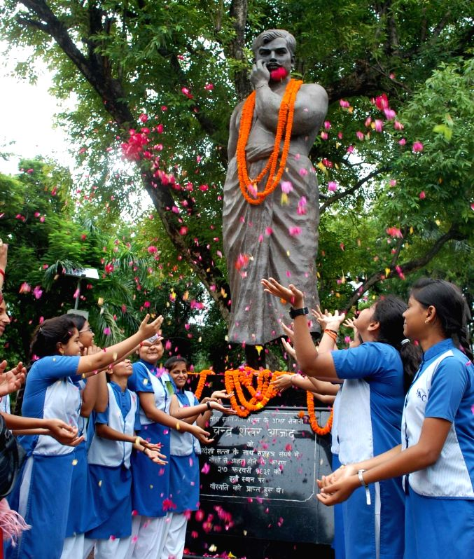 Students pay tributes to freedom fighter Chandra Shekhar Azad on his birth anniversary, in Allahabad on July 23, 2018.