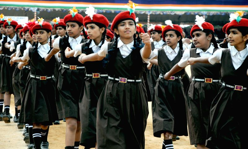 Students rehearse for Independence Day parade at Manekshaw Parade Grounds in Bangalore on Aug 11, 2014.