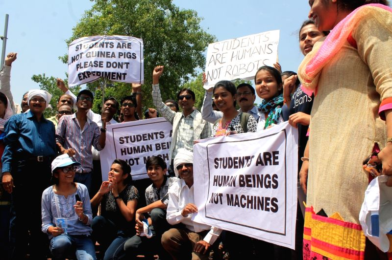 Students stage a demonstration against National Eligibility-cum-Entrance Test (NEET) in Nagpur, on May 14, 2016. In a set-back to some states and private medical colleges who were trying to ...