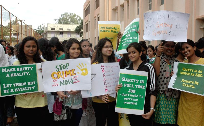 Students take part in a marathon - for a safe Bangalore, in the city on Aug 24, 2014.