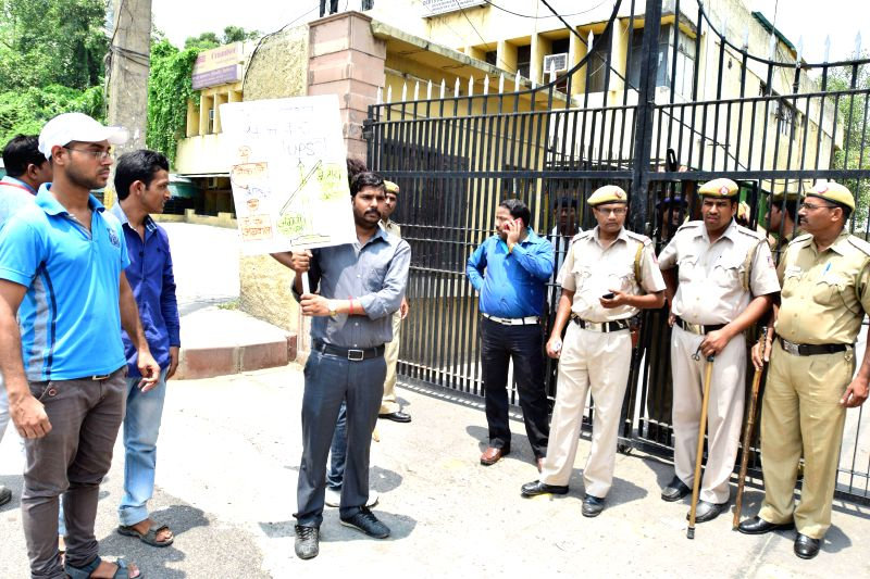 Students who appeared for the UPSC examinations gathered in front of the RSS office near Jhandewalan to demand roll back of the C-SET being arrested by police in Delhi on July 26, 2014.