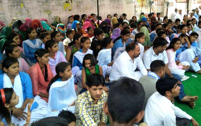 Students who were on a hunger strike for a week to demand upgradation of the government school in their village to Class 12, at Gothra Tappa Dahina in Rewari on May 17, 2017. The Haryana ...
