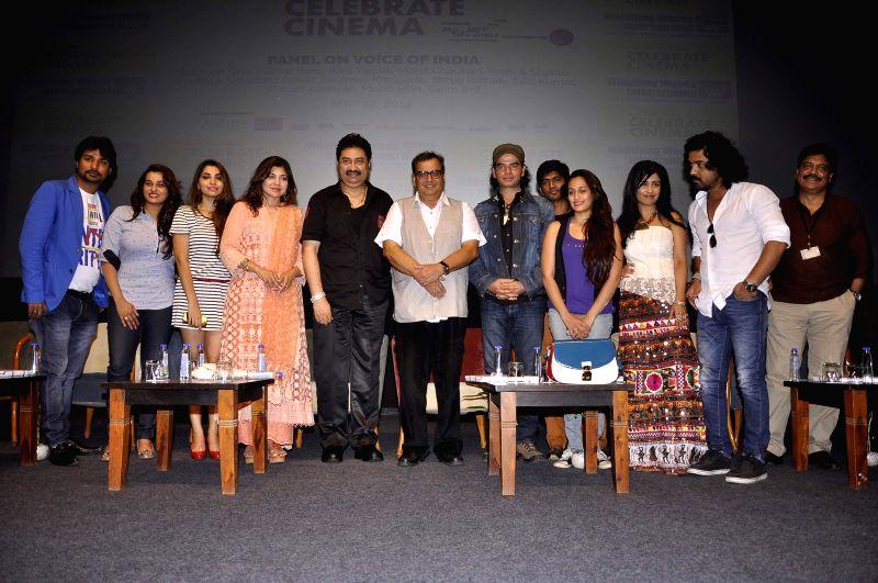 Subhash Ghai, Alka Yagnik, Kumar Sanu, Mohit Chaudhary, Shruti Pathak, Shraddha Kapoor and Toshi during the Cinema festival organized by Whistling Woods International, in Mumbai, on May 17, 2014. - Mohit Chaudhary, Shruti Pathak and Shraddha Kapoor