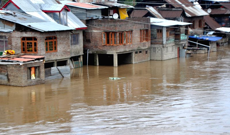 Submerged houses in a flood-affected Anantnag district of Jammu and Kashmir on June 25, 2015.