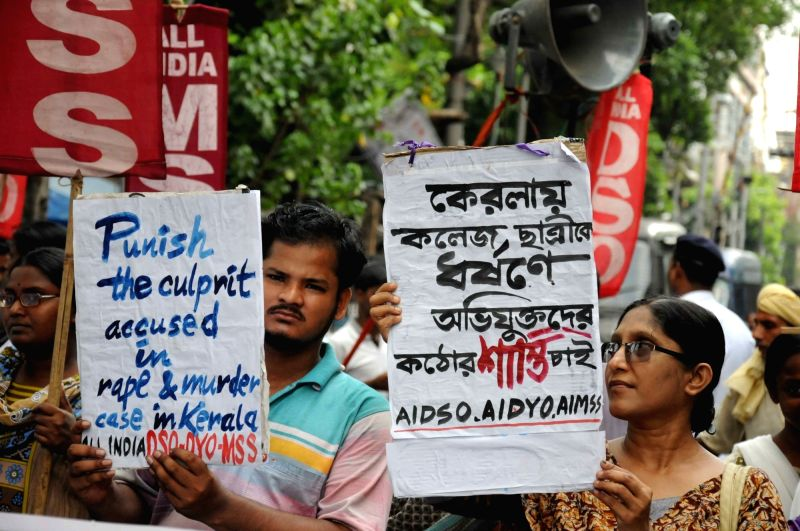 SUCI activists stage a demonstration against Dalit woman's murder in Kolkata, on May 9, 2016.