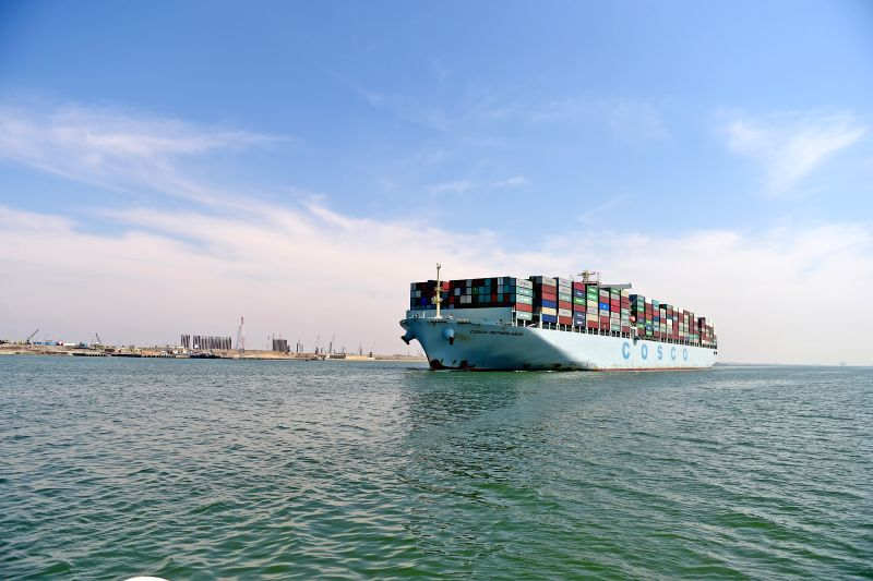 SUEZ CANAL, May 6, 2017 - Merchant Vessel (M.V.) COSCO Netherlands crosses the Suez Canal in Egypt, May 5, 2017. The vessel arrived at its anchorage at the Suez Canal late Thursday night and crossed ...