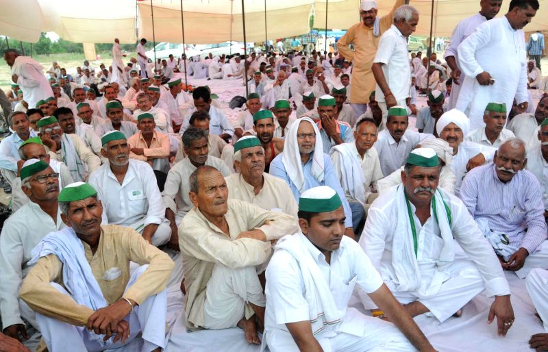 Sugarcane farmers stage a demonstration against sugar mill owners for failing to pay their dues in Noida on Aug 12, 2014.