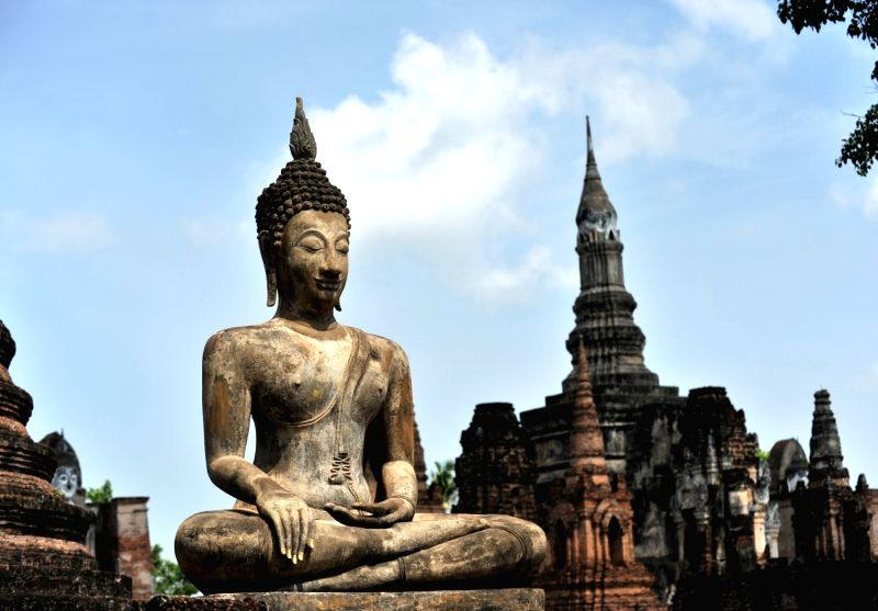 A Buddha statue is seen at Mahathat of Sukhothai Historical Park, some 460 kilometers north of Bangkok, Thailand. Sukhothai, capital of the Sukhothai Kingdom in the 13th-14th century, was inscripted in UNESCOs World Cultural Heritage list in 1991.