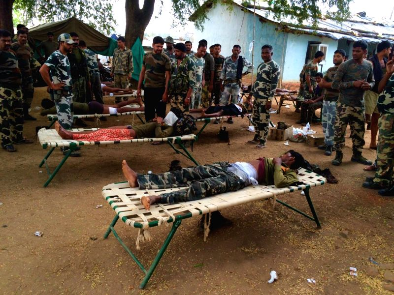 Injured personnel of Special Task Force being treated after an encounter with Naxals in Chhattisgarh's Sukma District on April 11,2015. The encounter took place in the Pedmal forest area of ...