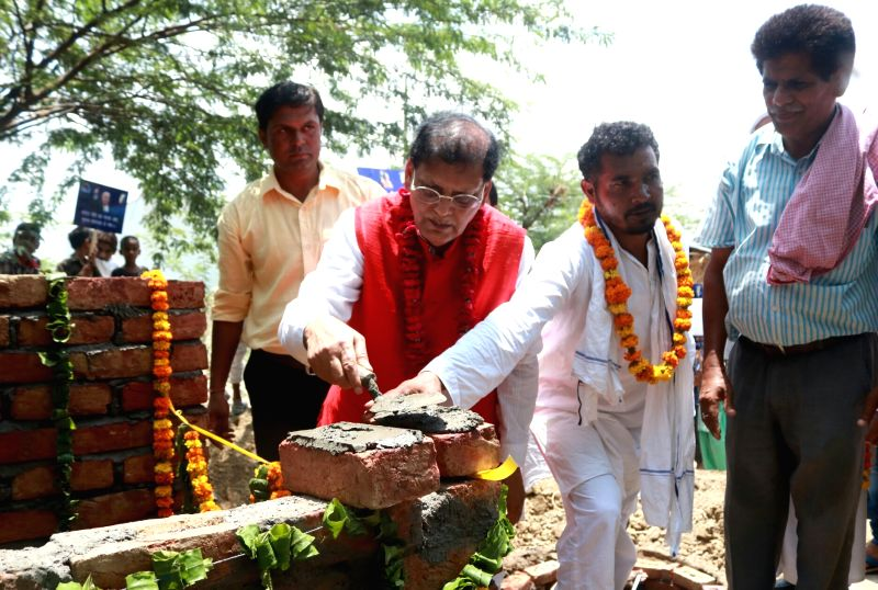 Sulabh International founder and chief, Bindeshwar Pathak during the inauguration of Trump Sulabh Village at Nuh village, Haryana on June 23, 2017. The gesture of renaming the village is meant ... - Bindeshwar Pathak
