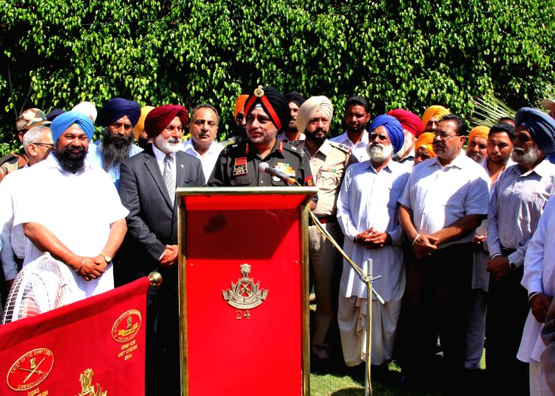Sultanpur Lodhi: The Army Commander Western Command General K J Singh, AVSM addresses at the inauguration of a park named after veteran freedom fighter Shaheed Dr. Diwan Singh Kalepani at Sultanpur ...