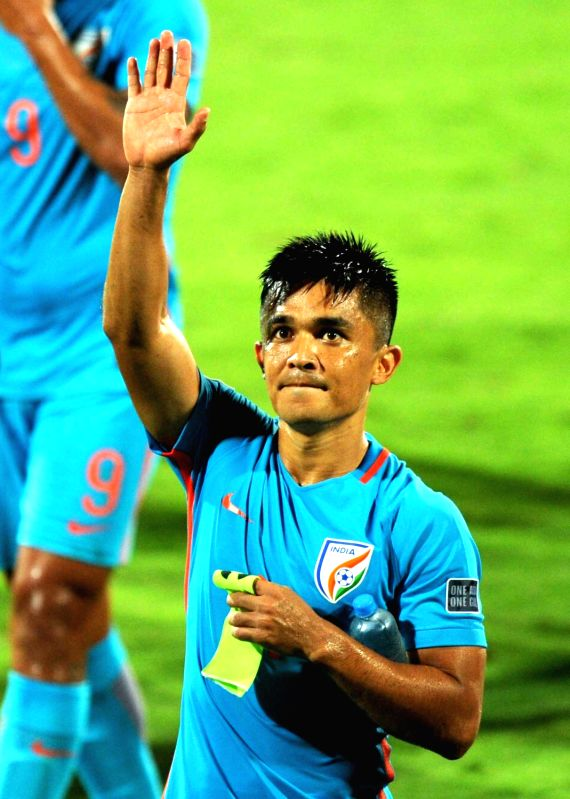 Sunil Chhetri of India during an AFC Asian Cup UAE 2019 qualifying match against Kyrgyz Republic in Bengaluru on June 13, 2017.