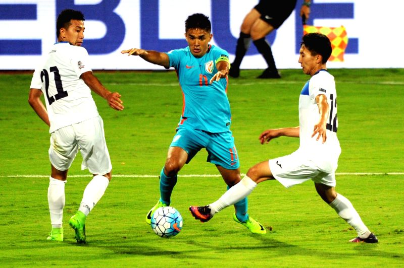 Sunil Chhetri of India in action against Kyrgyz Republic during an AFC Asian Cup UAE 2019 qualifying match in Bengaluru on June 13, 2017.