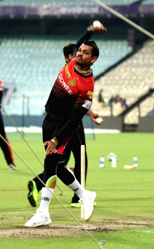 Sunil Narine of Kolkata Knight Riders during practice session for IPL at Eden Gardens in Kolkata on May 2, 2017.