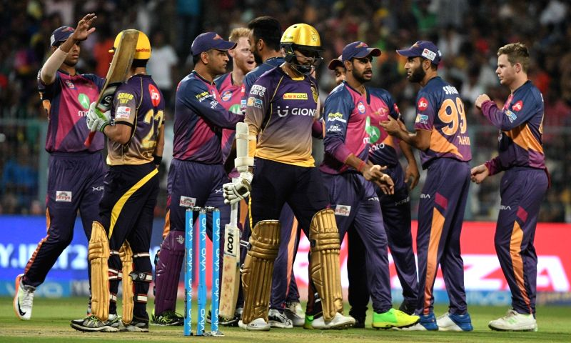 Sunil Narine of Kolkata Knight Riders walks back to the pavilion after getting dismissed during an IPL 2017 match between Kolkata Knight Riders and Rising Pune Supergiant at Eden Gardens in ...