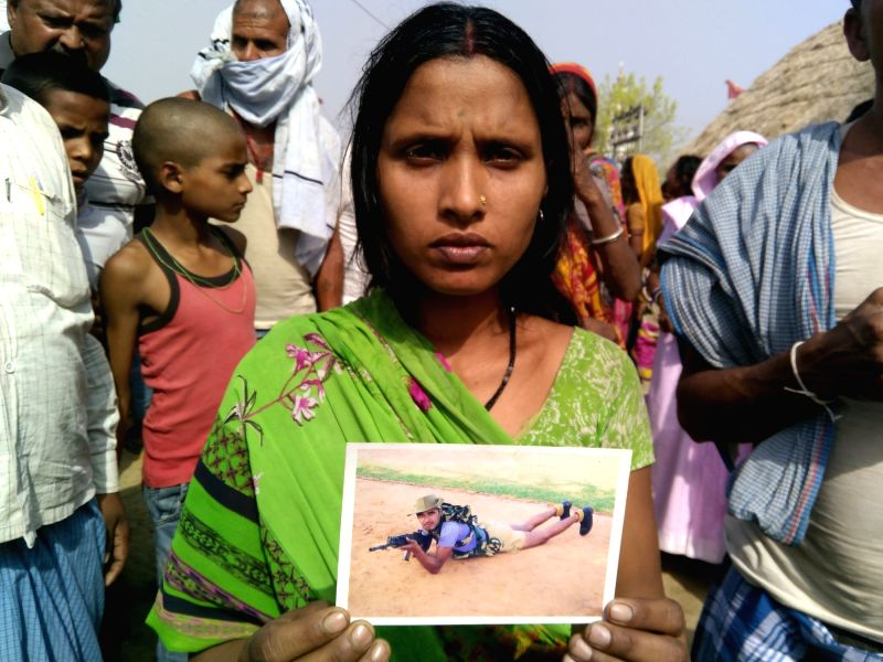 Sunita Devi wife of CRPF personnel Ranjeet Kumar who attained martyrdom in a maoist attack in Sukma of Chhatisgarh on 24th April 2017; in Sheikhpura, Bihar on April 25, 2017. 24 CRPF ... - Ranjeet Kumar