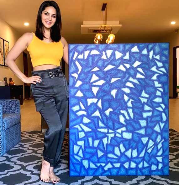 Sunny Leone finishes 'lockdown piece of art'.
