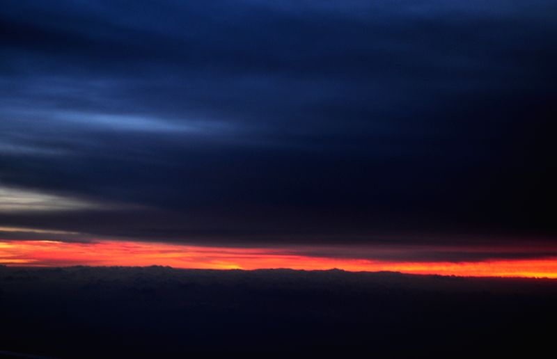 Sunrise as captured from an airplane over the Himalayas on Nov 28, 2015.