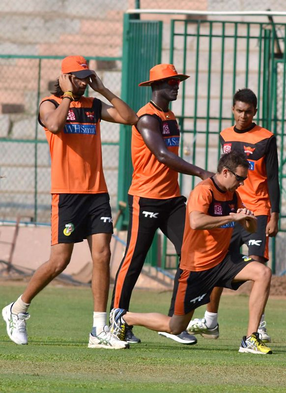 Sunrise Hyderabad players during a practice session, in Bangalore on May 3, 2014.