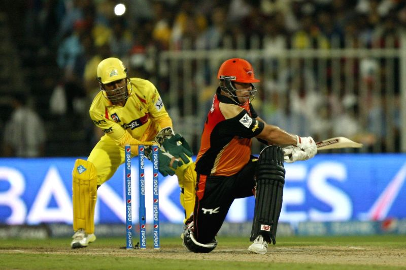 Sunrisers Hyderabad batsman Aaron Finch in action during the 17th match of IPL 2014 between Sunrisers Hyderabad and Chennai Super Kings, played at Sharjah Cricket Stadium in Sharjah of United Arab ... - Aaron Finch