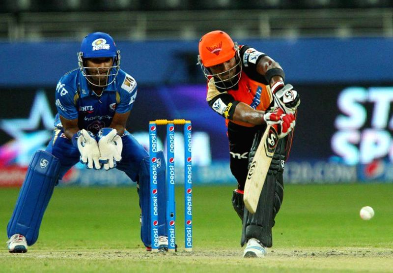 Sunrisers Hyderabad batsman Lokesh Rahul in action during the 20th match of IPL 2014 between Sunrisers Hyderabad vs Mumbai Indians, played at Dubai International Cricket Stadium in Dubai of United ... - Lokesh Rahul