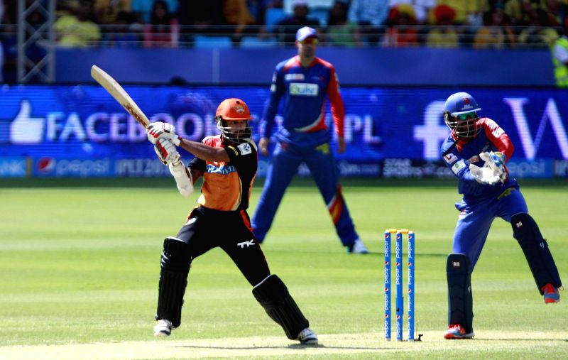 Sunrisers Hyderabad batsman Shikhar Dhawan in action during the 12th match of IPL 2014 between Sunrisers Hyderabad and Delhi Daredevils, played at Dubai International Cricket Stadium in Dubai of ... - Shikhar Dhawan