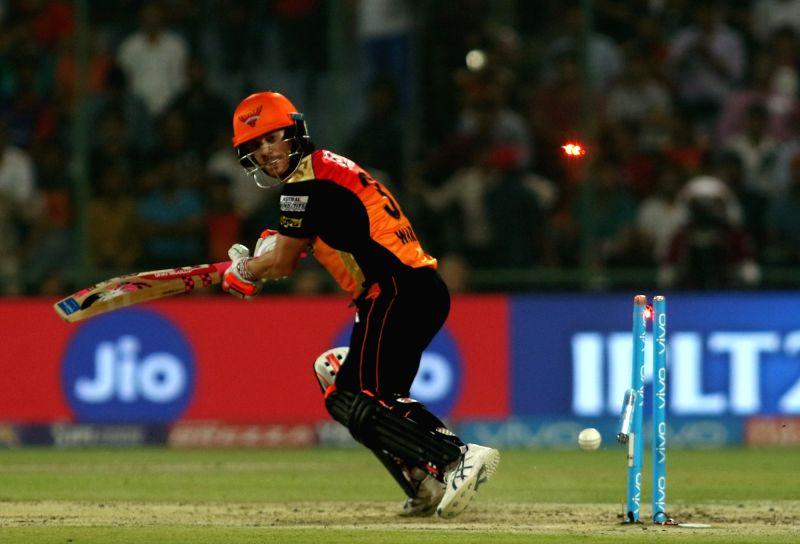 Sunrisers Hyderabad captain David Warner gets bowled during an IPL 2017 match between Sunrisers Hyderabad and Delhi Daredevils at Feroz Shah Kotla in New Delhi on May 2, 2017. - David Warner and Feroz Shah Kotla