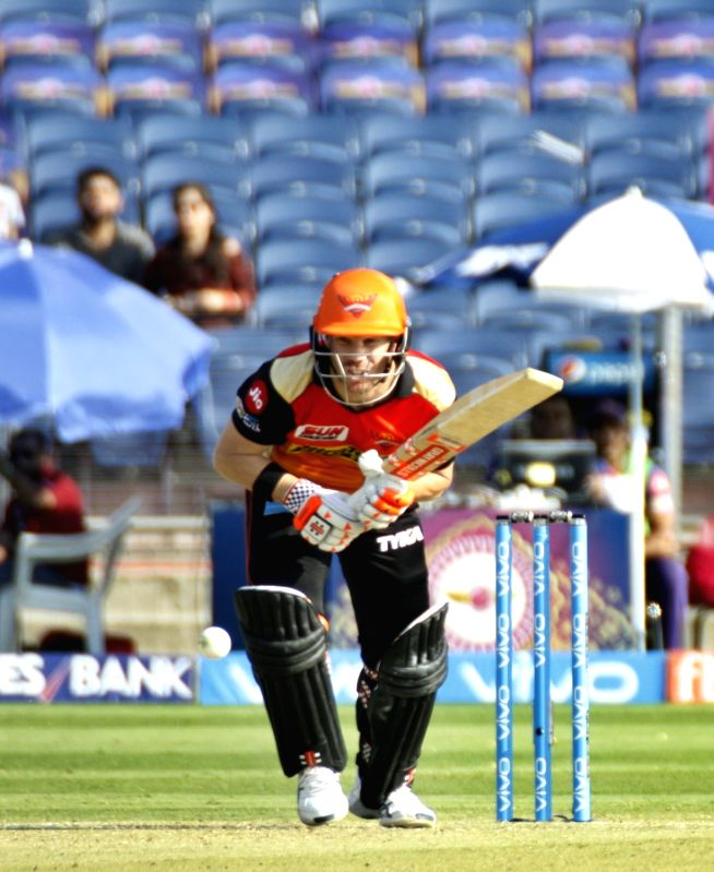 Sunrisers Hyderabad captain David Warner in action during an IPL 2017 match between Rising Pune Supergiant and Sunrisers Hyderabad at Maharashtra Cricket Association Stadium in Pune on April ... - David Warner