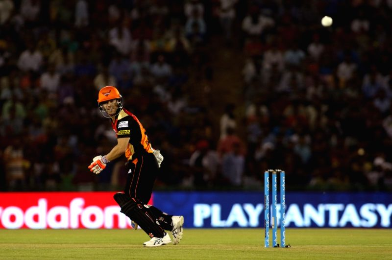 Sunrisers Hyderabad captain David Warner in action during an IPL 2017 match between Sunrisers Hyderabad and Kings XI Punjab at c in Mohali on April 28, 2017. - David Warner