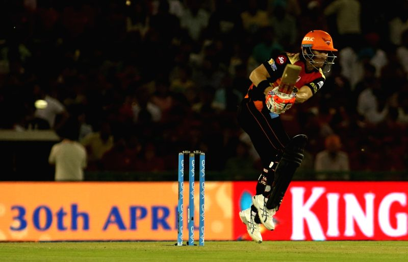 Sunrisers Hyderabad captain David Warner in action during an IPL 2017 match between Sunrisers Hyderabad and Kings XI Punjab at Punjab Cricket Association IS Bindra Stadium in Mohali on April ... - David Warner