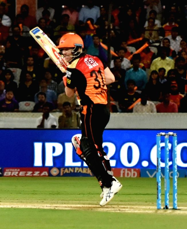 Sunrisers Hyderabad captain David Warner in action during an IPL 2017 match between Sunrisers Hyderabad and Kolkata Knight Riders at Rajiv Gandhi International Stadium in Hyderabad on ... - David Warner