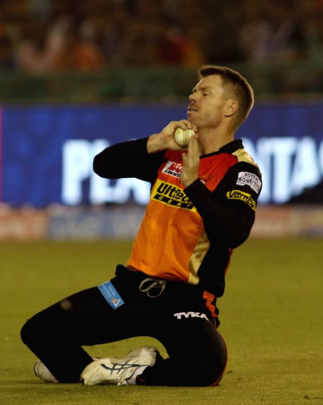 Sunrisers Hyderabad captain David Warner takes a catch during an IPL 2017 match between Sunrisers Hyderabad and Kings XI Punjab at Punjab Cricket Association IS Bindra Stadium in Mohali on ... - David Warner