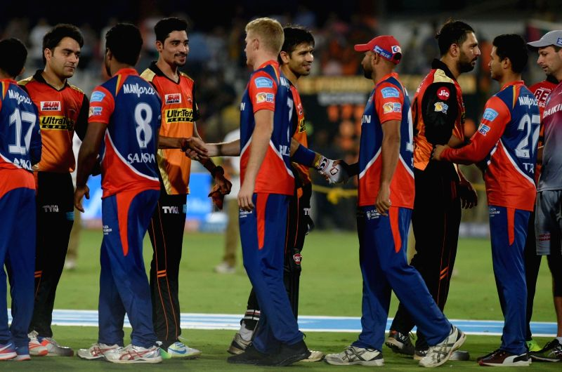 Sunrisers Hyderabad celebrate after winning an IPL 2017 match between Sunrisers Hyderabad and Delhi Daredevils at Rajiv Gandhi International Stadium in Hyderabad on April 19, 2017.