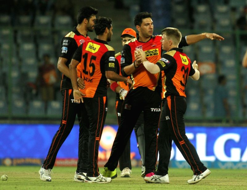 Sunrisers Hyderabad celebrate after winning the  IPL 2016 Eliminator match between Sunrisers Hyderabad and Kolkata Knight Riders at Feroz Shah Kotla stadium in New Delhi, on May 25, 2016. - Feroz Shah Kotla