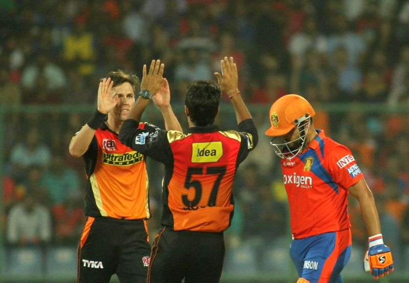 Sunrisers Hyderabad celebrate fall of a wicket during Qualifier 2 of IPL 2016 between Gujarat Lions and Sunrisers Hyderabad at Feroz Shah Kotla Stadium in New Delhi on May 27, 2016.