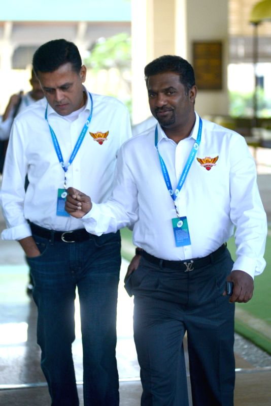 Sunrisers Hyderabad coach Muttiah Muralitharan arrives to attend Indian Premier League (IPL) Players' Auction in Bengaluru on Jan 28, 2018.