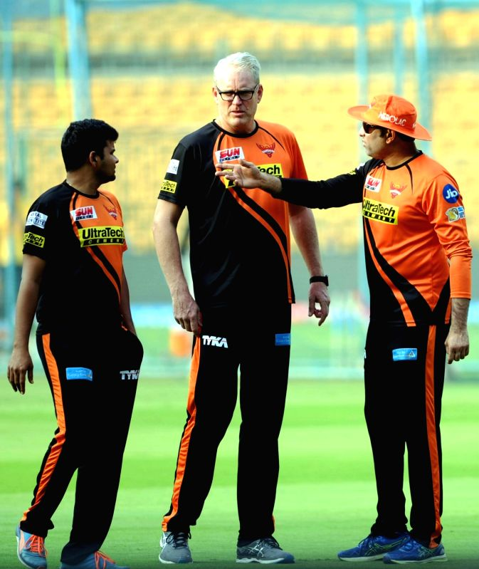 Sunrisers Hyderabad coach Tom Moody and mentor VVS Laxman during a practice session ahead of their playoff match against Kolkata Knight Riders at Chinnaswamy Stadium in Bengaluru on May ...