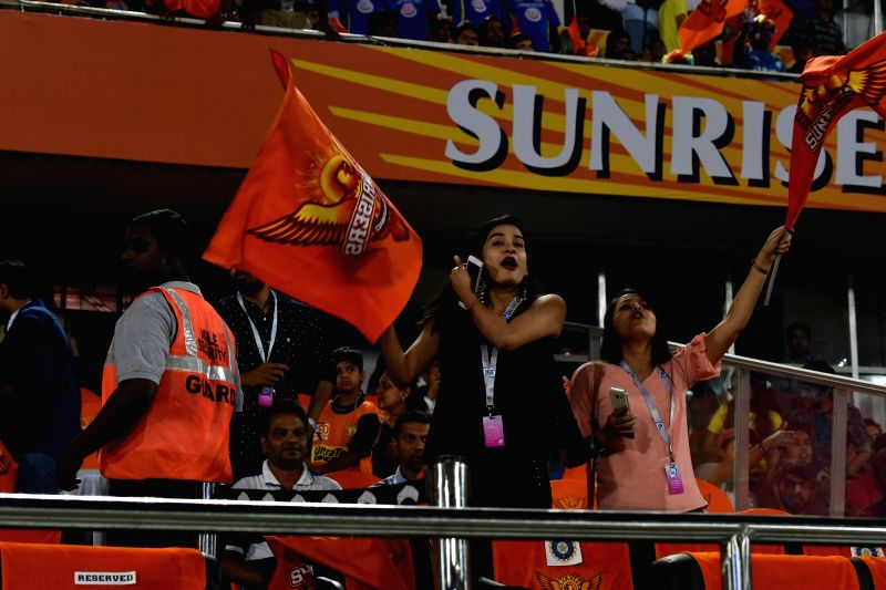Sunrisers Hyderabad fans during an IPL 2018 match between Sunrisers Hyderabad and Mumbai Indians at Rajiv Gandhi International Cricket Stadium in Hyderabad on April 12, 2018.