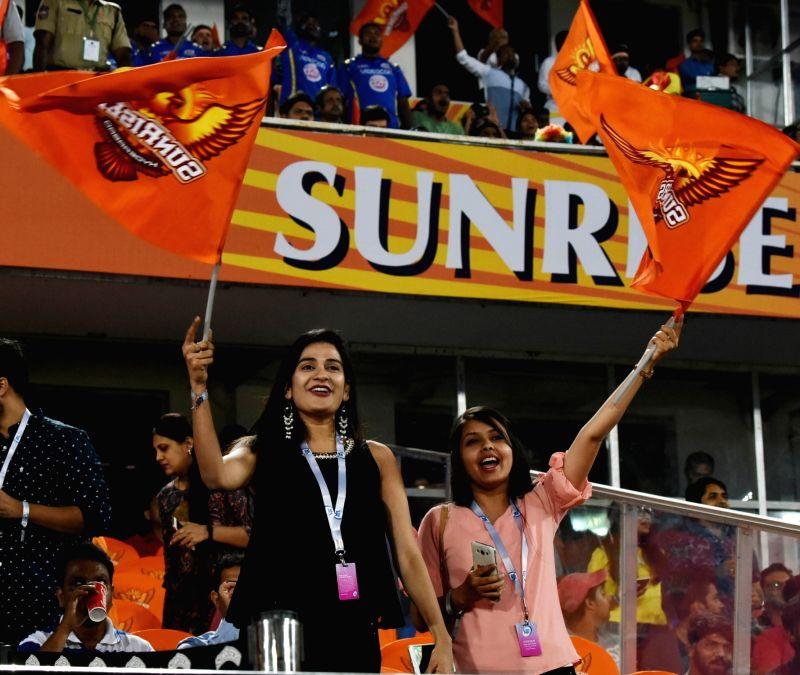 Sunrisers Hyderabad fans during an IPL 2018 match between Sunrisers Hyderabad and Mumbai Indians at Rajiv Gandhi International Cricket Stadium in Hyderabad on April 12, 2018.