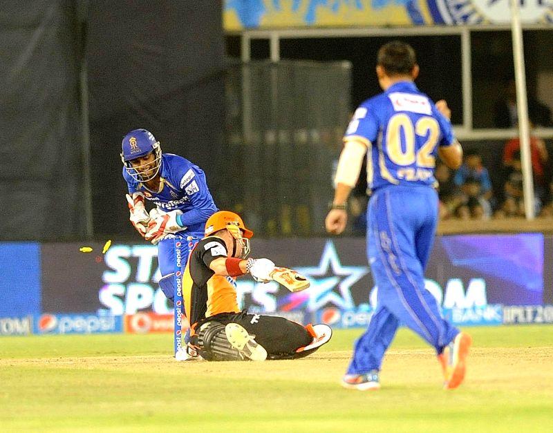Sunrisers Hyderabad player David Warner gets dismissed during the 30th match of IPL 2014 between Sunrisers Hyderabad and Rajasthan Royals at Sardar Patel Stadium in Ahmedabad on May 8, 2014. - Sardar Patel Stadium