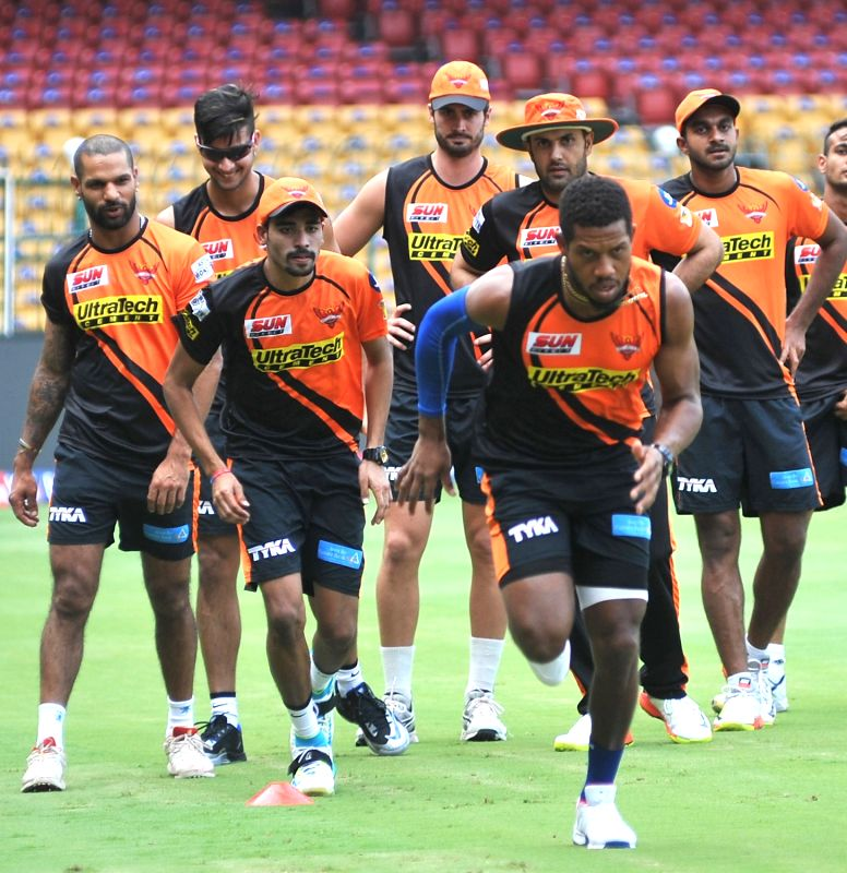 Sunrisers Hyderabad players during a practice session at Chinnaswamy Stadium in Bengaluru on April 24, 2017.